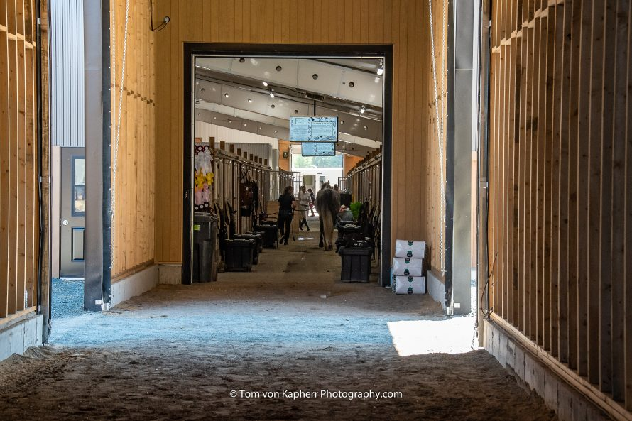 corridor from the indoor warm up arena to the 4-season stable
